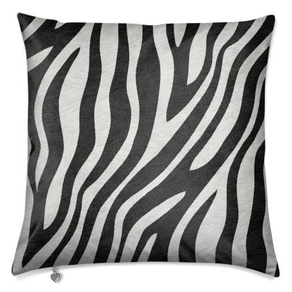 Luxury Cushion Zebra in Black Grey