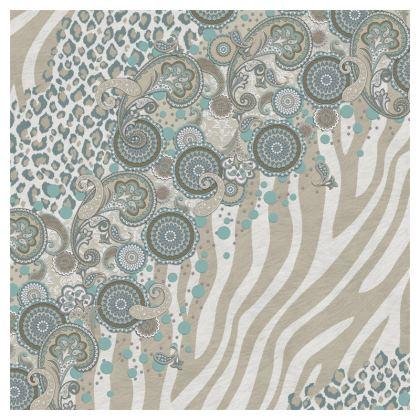 Luxury Cushion Paisley, Zebra and Leopard in Beige Duck Egg