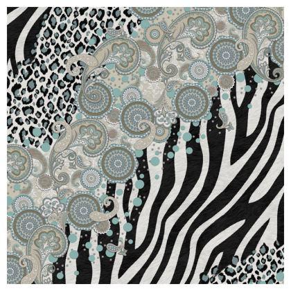 Luxury Cushion Paisley, Zebra and Leopard in Beige Duck Egg Black