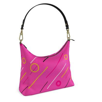 Square Hobo Bag- Emmeline Anne Cool Grooves Pink