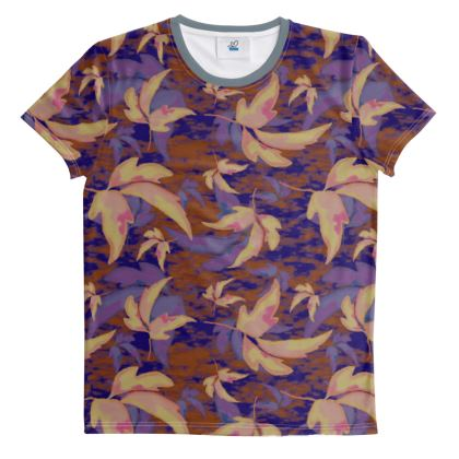 Blue, Brown  Cut And Sew All Over Print T Shirt  Leaves in Flight   Woodchip