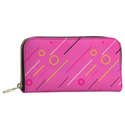 Leather Zip Purse- Emmeline Anne Cool Grooves Pink