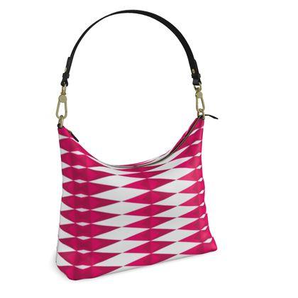 Square Hobo Bag- Emmeline Anne Pink/White Diamonds