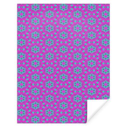 Mauve, Teal  Pink Gift Wrap  Geometric Florals  Majestic Mauve