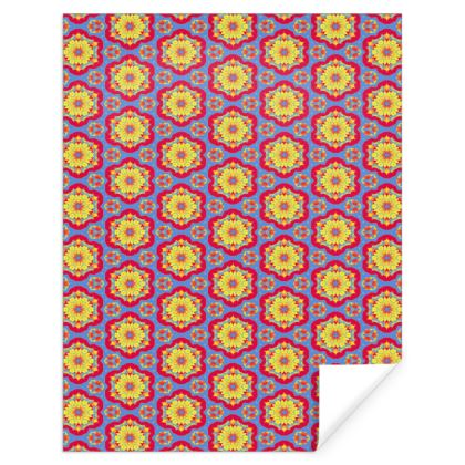Red, Blue  Gift Wrap  Geometric Florals  Citadel