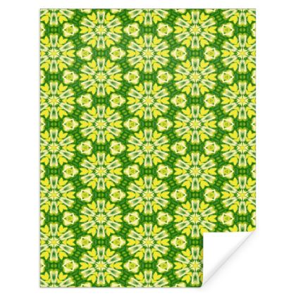 Yellow, Green Gift Wrap  Geometric Floral  Dandelions