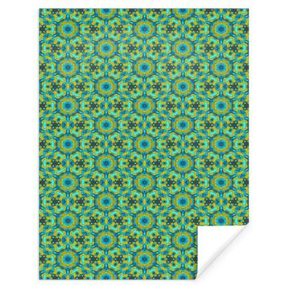 Green, Grey Gift Wrap  Geometric Florals  Moonbase