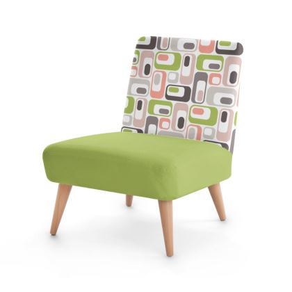 Occasional Chair Retro Mod Pink Green Ovals