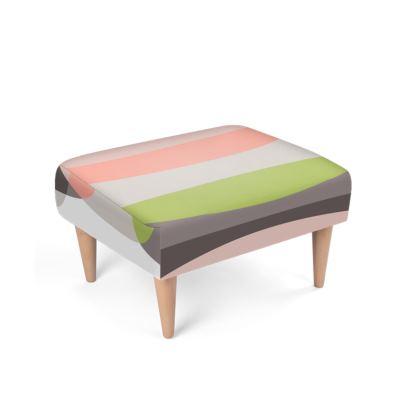 Footstool Pink Green Stripes