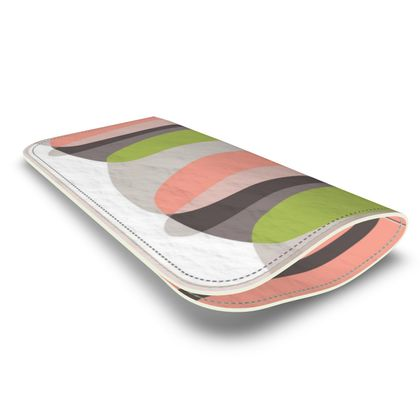Leather Glasses Case retro mod pink green