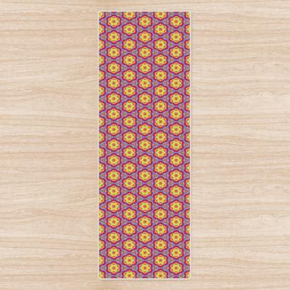 Blue, Red, Yellow  Yoga Mat   Geometric Florals  Citadel