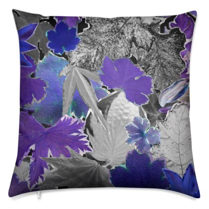 Blue Forna Print Luxury Cushion