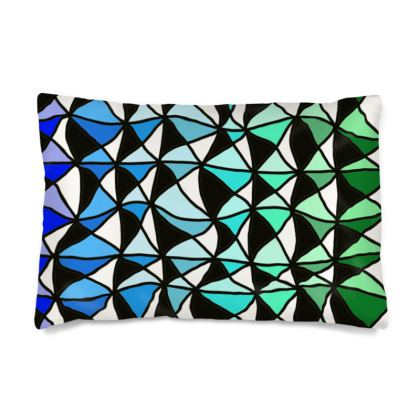 Silk Pillow Case in Geometric blue to green