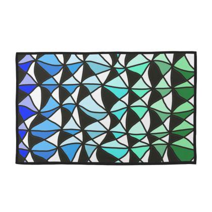 Towel set Geometric blue to green