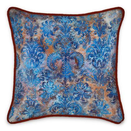 Silk Cushion Grunge Damask cobalt blue rust orange