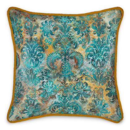 Silk Cushion Grunge Damask  tiffany mustard terracotta