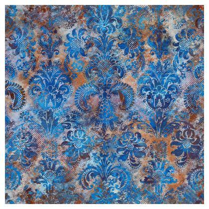 Cushion Grunge Damask cobalt blue rust orange