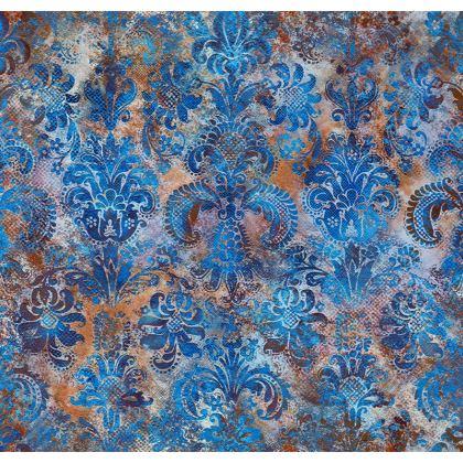 Luxury Cushion Grunge Damask cobalt blue rust orange
