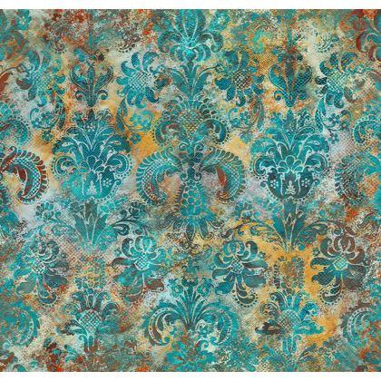 Luxury Cushion  Grunge Damask tiffany mustard terracotta
