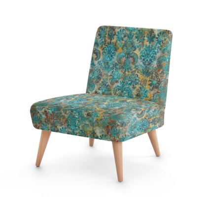 Occasional Chair Grunge Damask tiffany mustard terracotta