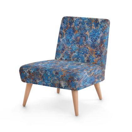 Occasional Chair Grunge Damask cobalt blue rust orange