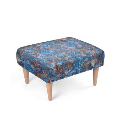 Footstool Grunge Damask cobalt blue rust orange