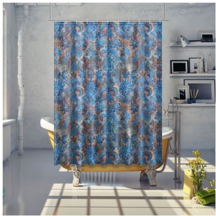 Shower Curtain Grunge Damask cobalt blue rust orange