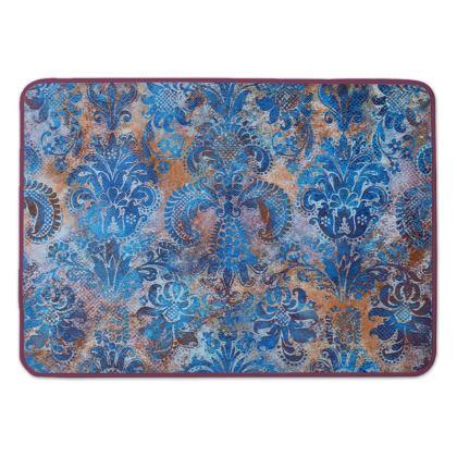 Bath Mat Grunge Damask cobalt blue rust orange