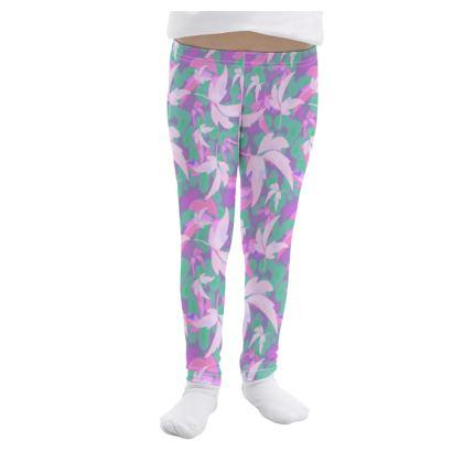 Pink, Mauve Girls Leggings  Leaves in Flight  Milkshake