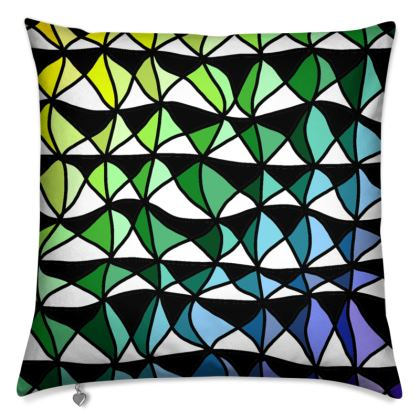 Cushions in a geometric yellow green to blue