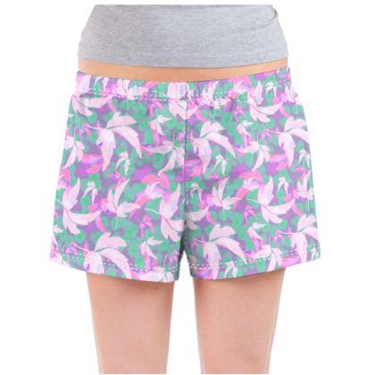 Pink, Mauve Ladies Pyjama Shorts  Leaves in Flight  Milkshake