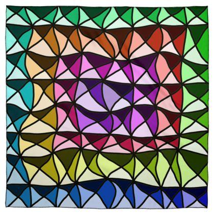 Scarf wrap or shawl in bright geometric pattern