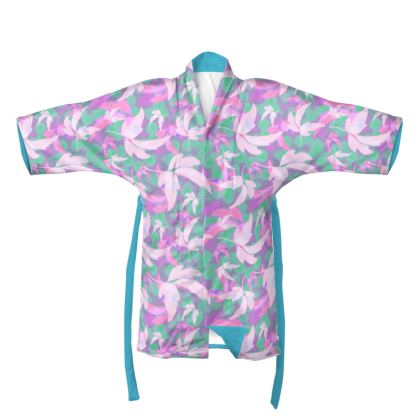 Pink, Green Kimono  Leaves in Flight  Milkshake
