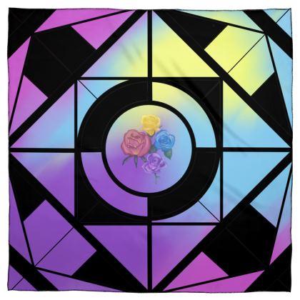 Scarf Wrap or Shawl Geometric with floral design