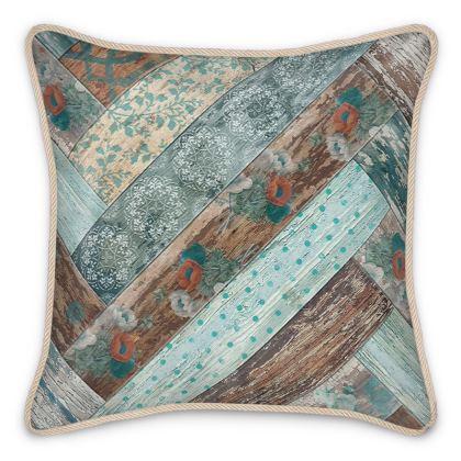 Silk Cushion Vintage Wood Teal Blue Coffee Brown