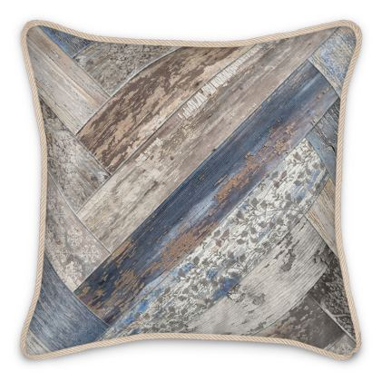 Silk Cushion Vintage Wood Capri Blue Beige Brown
