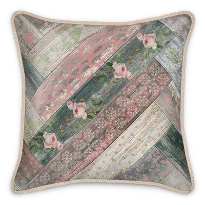 Silk Cushion Vintage Wood Pink Green Beige Grey