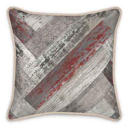 Silk Cushion Vintage Wood Burgundy Red Beige Grey