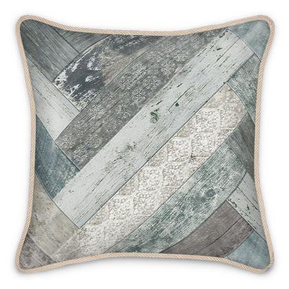 Silk Cushion Vintage Wood Duck Egg Blue Beige Grey