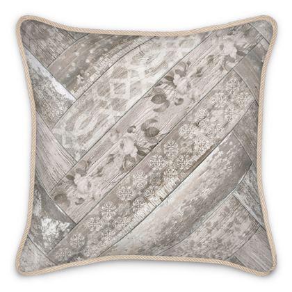 Silk Cushion Vintage Wood Cream Beige