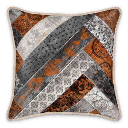 Silk Cushion Vintage Wood Cream Burnt Orange Grey