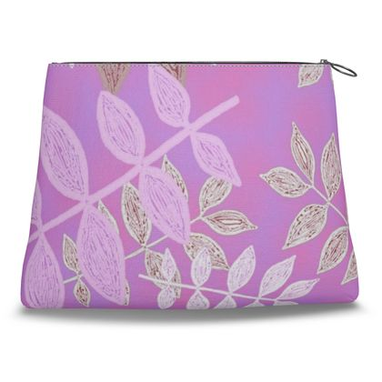Mauve, Pink  Clutch Bag  Etched Leaves  Leaves in Mauve