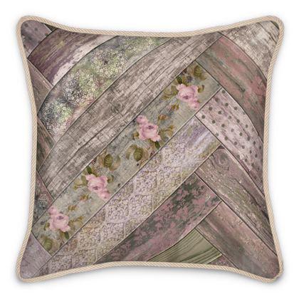 Silk Cushion Vintage Wood Mauve Olive Green