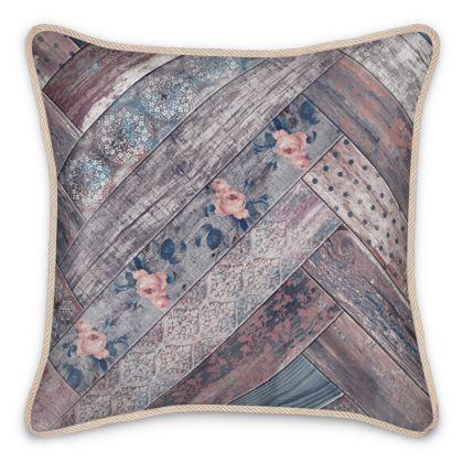 Silk Cushion Vintage Wood Mauve Pink Denim Blue