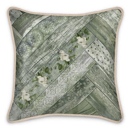 Silk Cushion Vintage Wood Olive Green Cream Grey