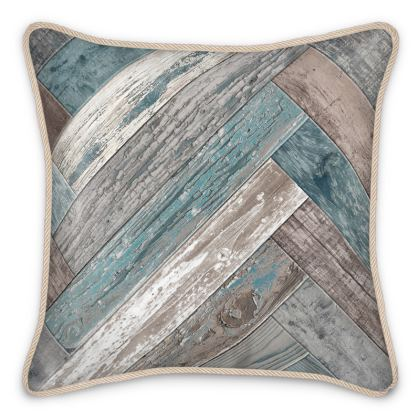 Silk Cushion Vintage Wood Blue Beige Grey