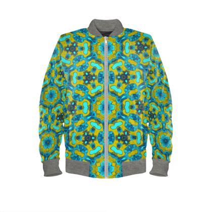Turquoise, Mustard   Mens Bomber Jacket  Geometric Florals  Moonbase