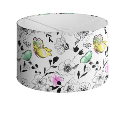 Butterfly Rhapsody Drum Lamp Shade, white