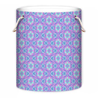 Blue, Pink Laundry Bag  Geometric Florals  Hyacinth