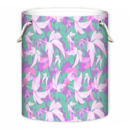 Pink, Teal Laundry Bag  Leaves in Flight  Milkshake